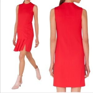 •AKRIS punto • Pleated Front Red Wool Shift Dress